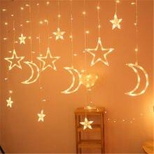 Eid Mubarak Star Moon Led Curtain Garland String Lights Ramadan Decoration Islam Muslim Party Decor Eid Al Adha Gift Eid Mubarak