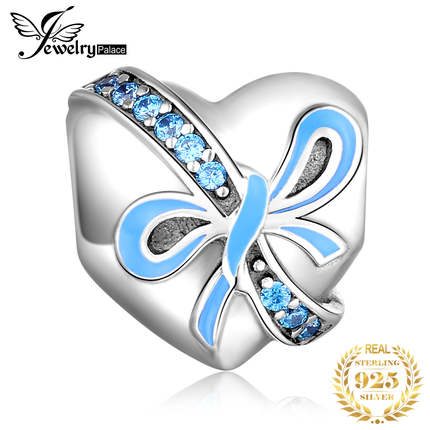 JewelryPalace Bowknot Heart 925 Sterling Silver Beads Charms Original Fit Bracelet original Jewelry Making