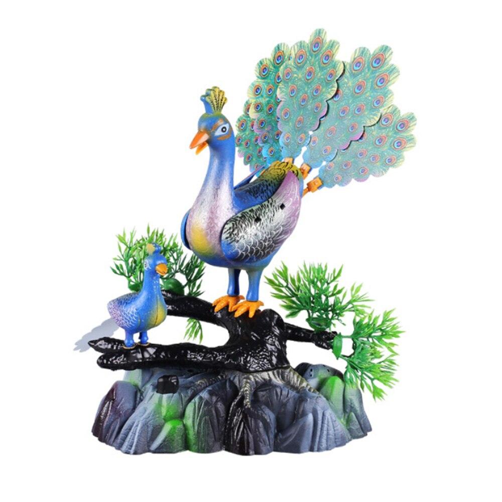 Original Electric Birds Sound Voice Control Pet Toy Animal Simulation Peacock Kids Vocal Toys Home Living Room Decor Ornaments