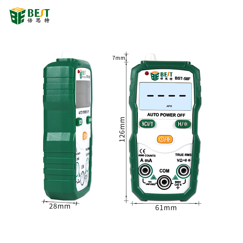 BST-58F Digital Multimeter Auto Range 4000 Counts AC/DC Voltage Current Resistance Meter Capacitance Frequency Tester