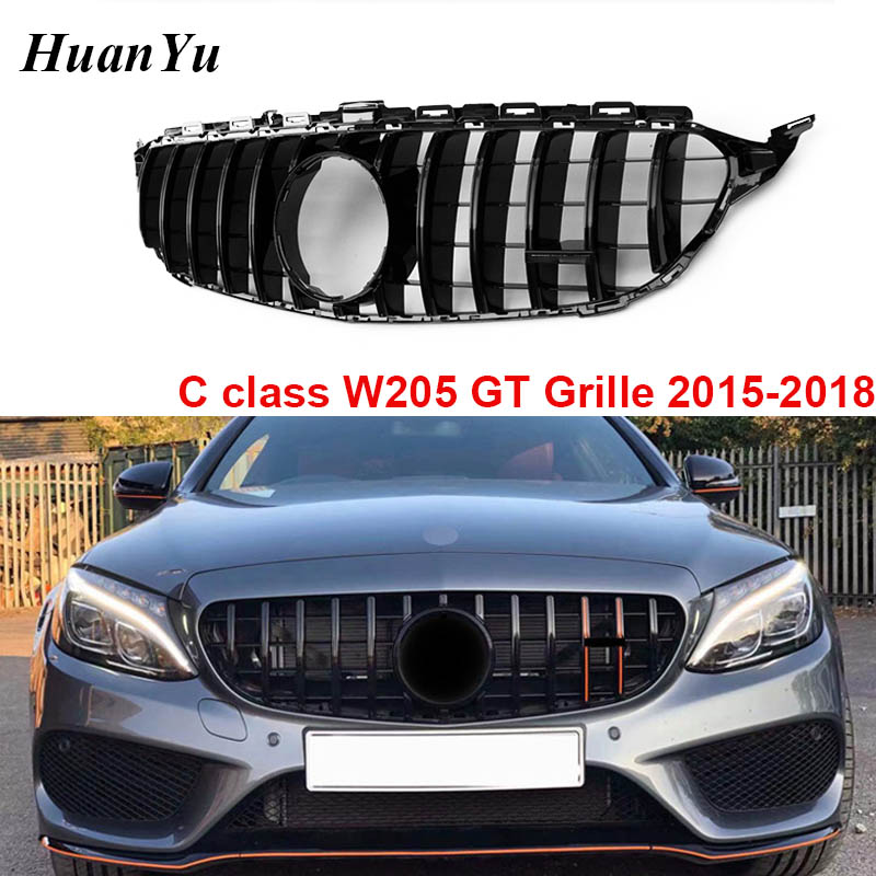 W205 Gloss Black Gt R Grille For Mercedes Benc C Class 2015 2018 Sport Edition Front Bumper Grills No Camera C180 C200 2015 2018 Racing Grills Aliexpress