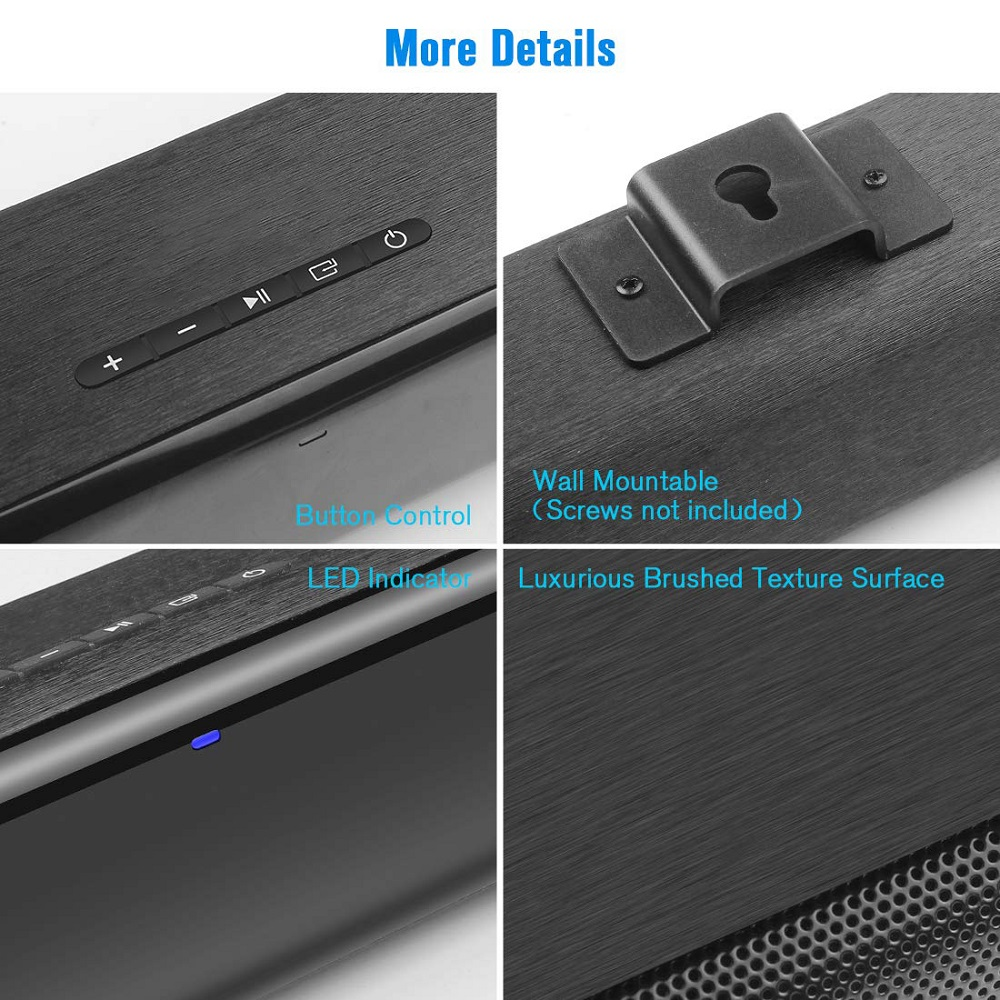 50W TV Soundbar Wired and Wireless Bluetooth 5.0 Speaker Home Theater Stereo Sound Bar Built-in Subwoofers with Remote Control 5