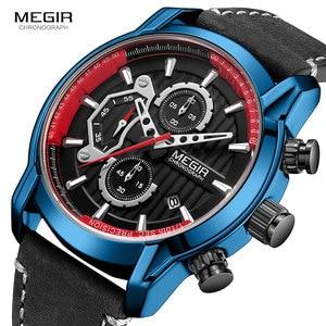 Image 3 - MEGIR lüks Chronograph kuvars saatler erkekler üst marka deri kol saati adam su geçirmez ışık askeri spor İzle saat 2104