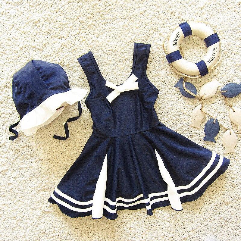 Infants Cute Baby Girls Navy Style Large Children Split Skirt-South Korea Students Hot Springs GIRL'S Swimming Suit
