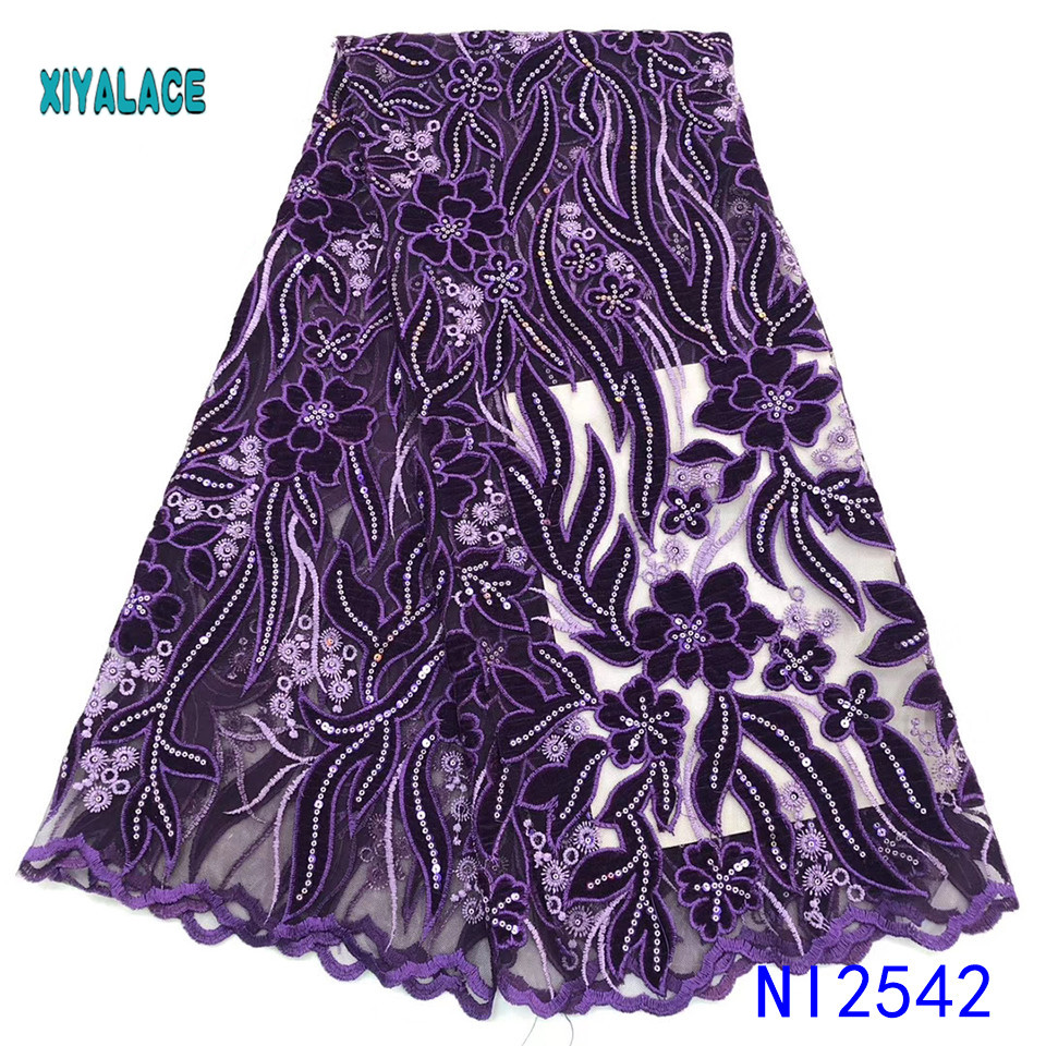 African Lace Fabric Latest 2019 High Quality Lace Embroidery French Lace Fabric Bridal Lace For Nigerian Party Dress YANI2542B-1