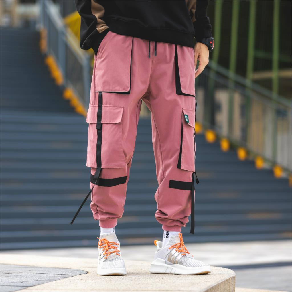 Autumn Men's Cargo Pants High Quality Polyester Hip Hop Casual Pants Multi-pocket Tassel Teen Fashion Loose Cargo Trousers Men