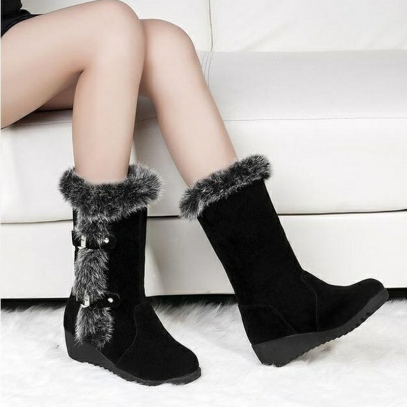 Women Winter Boots Flock Winter Shoes Ladies Fashion Snow Boots Shoes Thigh High Suede Mid-Calf Boots 9