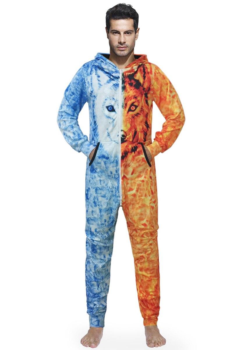 Men Fleece Onesie Fluffy Sleep Lounge Adult Sleepwear 3D Wolf Print One Piece Pyjamas Male Jumpsuits Hooded Onesie For Adult Men in Zentai from Novelty Special Use