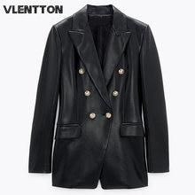 Spring autumn women's black faux leather blazer and jacket