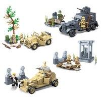 Blocos de construção da segunda guerra mundial  brinquedo 4em 1 para crianças  veículo armadura  tráfego militar  lugouqiao  presentes para crianças  2020