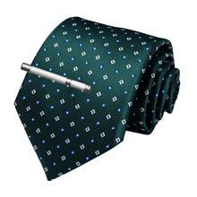 Fashion Men Tie Green Blue Dot Wedding For Hanky Cufflinks Clip Set DiBanGu Designer Silk Dropshipping  MJ-7175