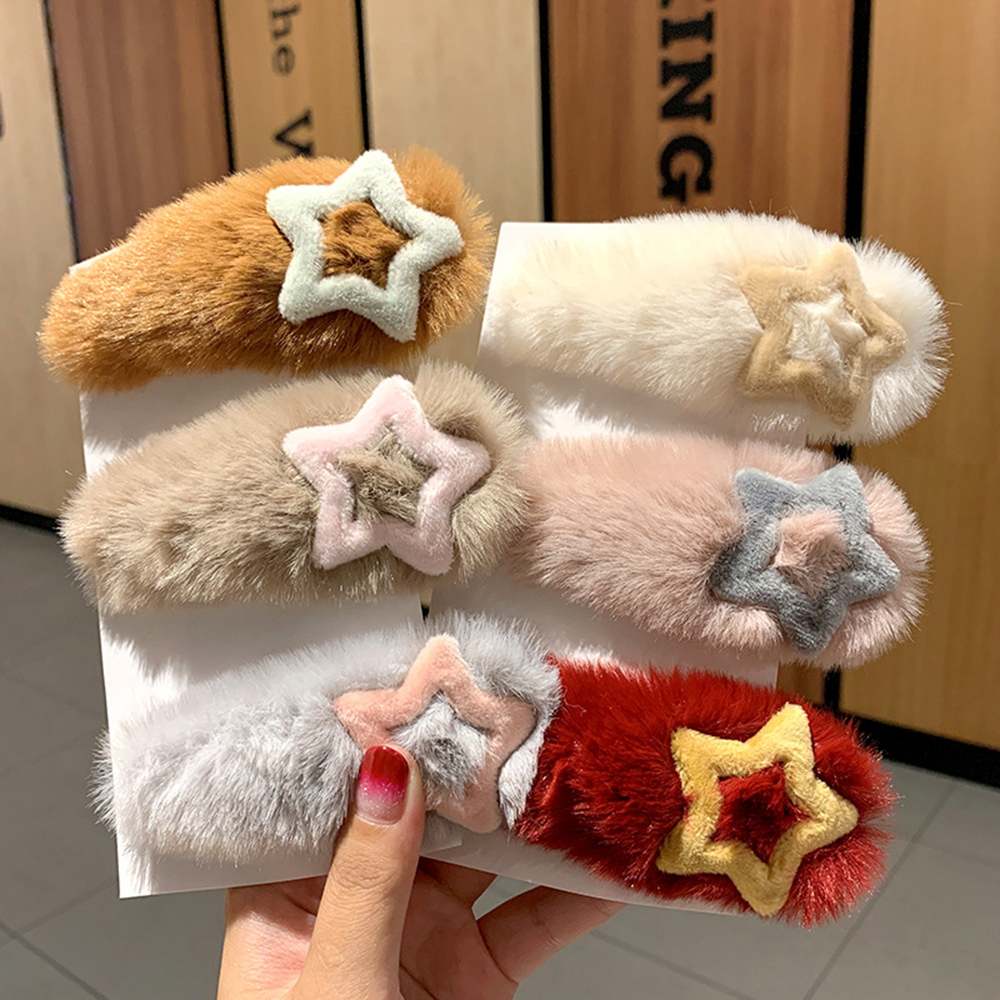 1pc Ins Korea Winter Plush Hairpins Solid Color Faux Rabbit Fur Hair Clips For Women Girls Barrettes Kids Soft Hair Accessories