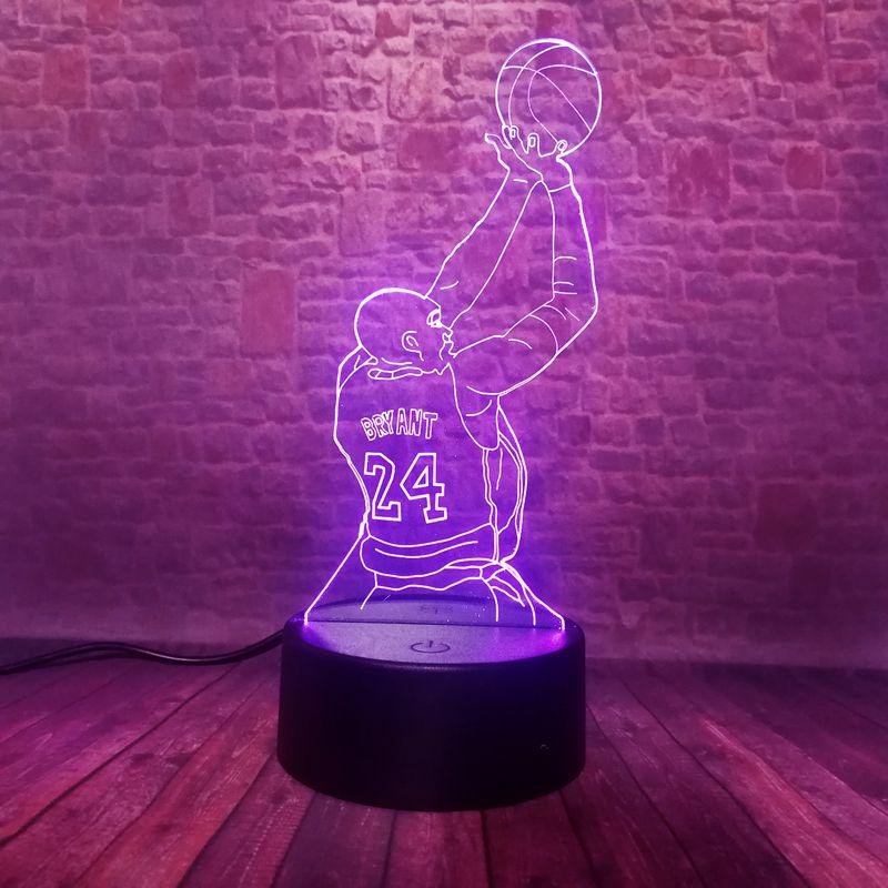 Flashing 3D Nightlight Visual Illusion LED 7 Colors Changing Flash Light Kobe Bryant Figure 24 Model Toys