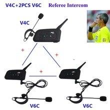 2 pçs v6 + v4 vnetphone profissional futebol árbitro intercom sistema de comunicação bluetooth futebol árbitros fone de ouvido interfone
