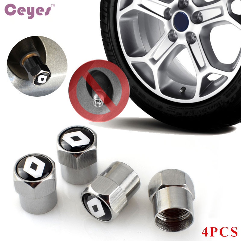 Ceyes Car Tire Valve Caps Case For Renault Laguna 2 Captur Fluence Megane 2 Megane 3 Scenic 2 Clio Logan Capture Car Styling 4pc