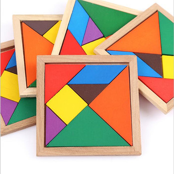 3D Wooden Tangram 7 Piece Jigsaw Puzzle Colorful Square IQ Game Brain Teaser Intelligent Educational Toys for Kids Boy Toys image