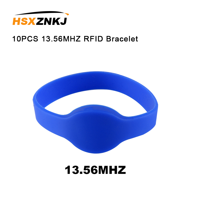 10PCS 13.56MHZ RFID ISO14443A Silicone NFC Wristband Bracelet Wrist Card MF 1K S50 F08 Tags