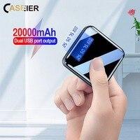 Caseier 20000 mah mini power bank para xiaomi 10000 mah carregador portátil led espelho de volta power bank bateria externa powerbank Baterias Externas     -