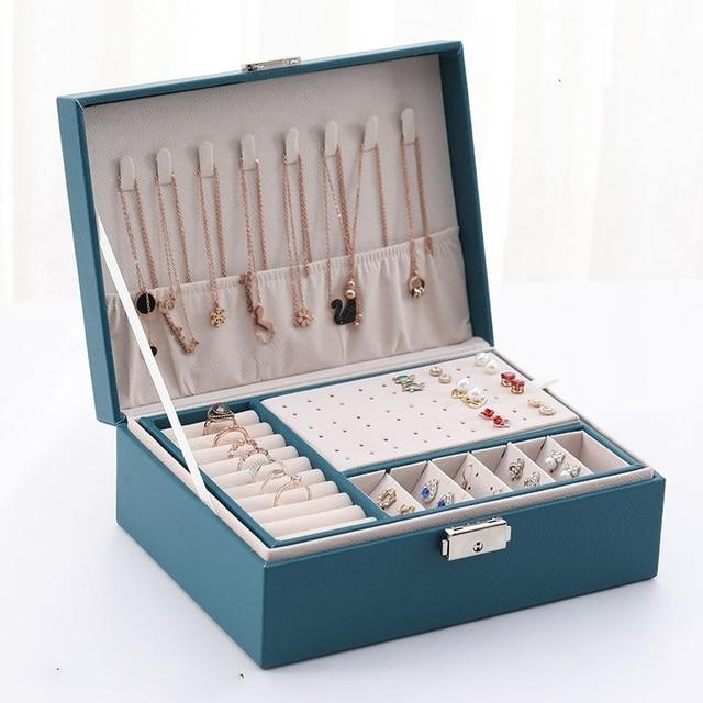 Caixa de armazenamento de jóias de couro do plutônio caixa de embalagem multi-função de estilo europeu portátil com gaveta presente de inverno 1