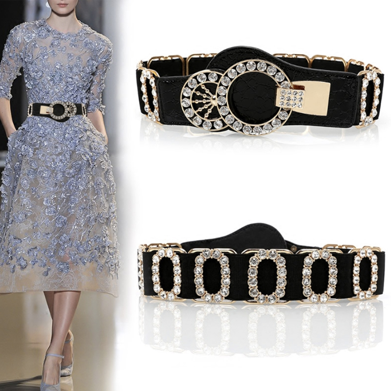 Rhinestone Belt Ceinture Strass Diamond Western Glitter Dress Belts For Women Elastic Easy Designer Waist Stretch Waistband