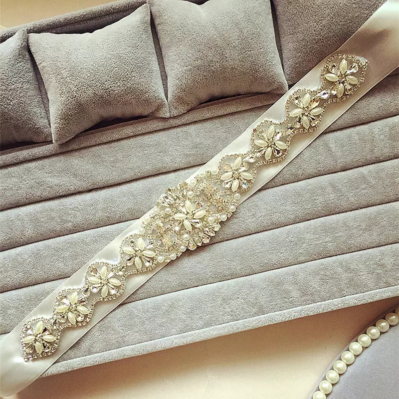 Купить с кэшбэком Rhinestone   Sash Bridal Sash Bridal Belt Ivory or White Satin Flower Girl Sash Wedding Belt