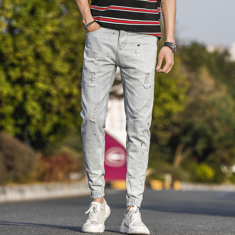 With Holes Jeans Men's Skinny Spring And Summer New Style Youth Korean-style Trend Versatile White Men'S Wear Beam Feet Long Pan