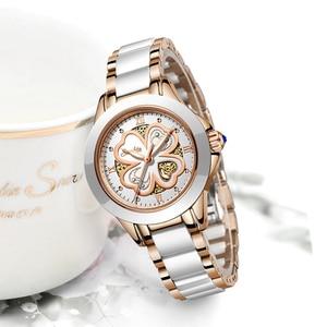 Image 4 - Часы наручные SUNKTA женские кварцевые, модные водонепроницаемые с керамическим браслетом