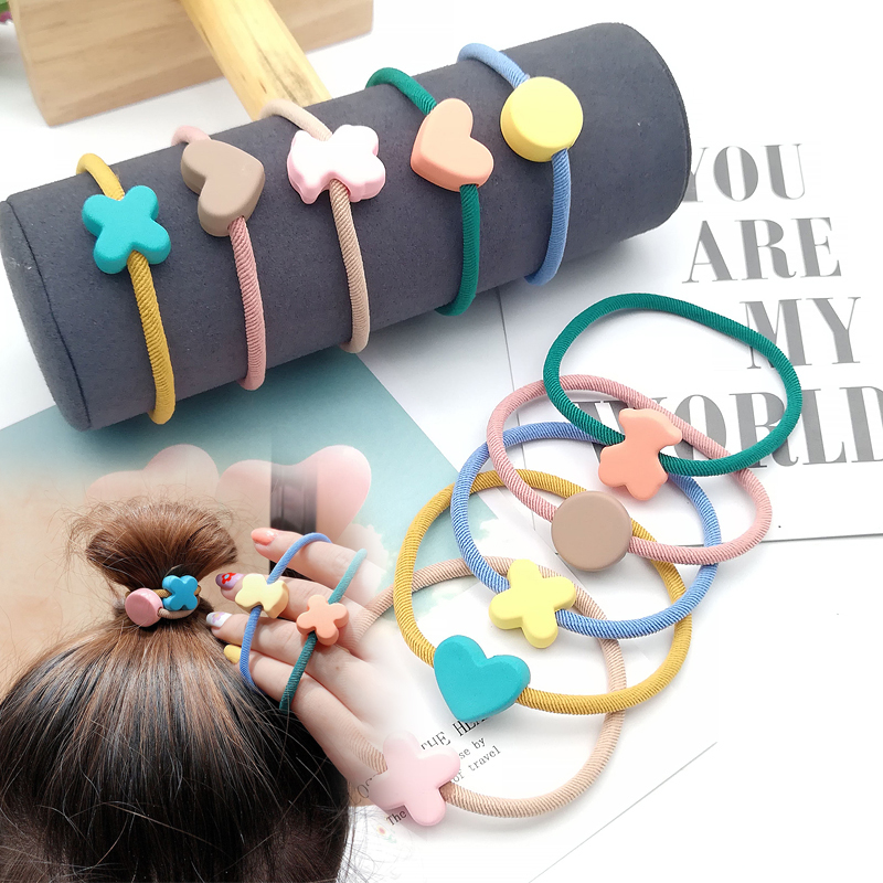 High Elastic Heart Bear Round Shape Rubber Bands For Women Hair Band Kids Children Sweet Candy Colors Hairbands Hair Accessories