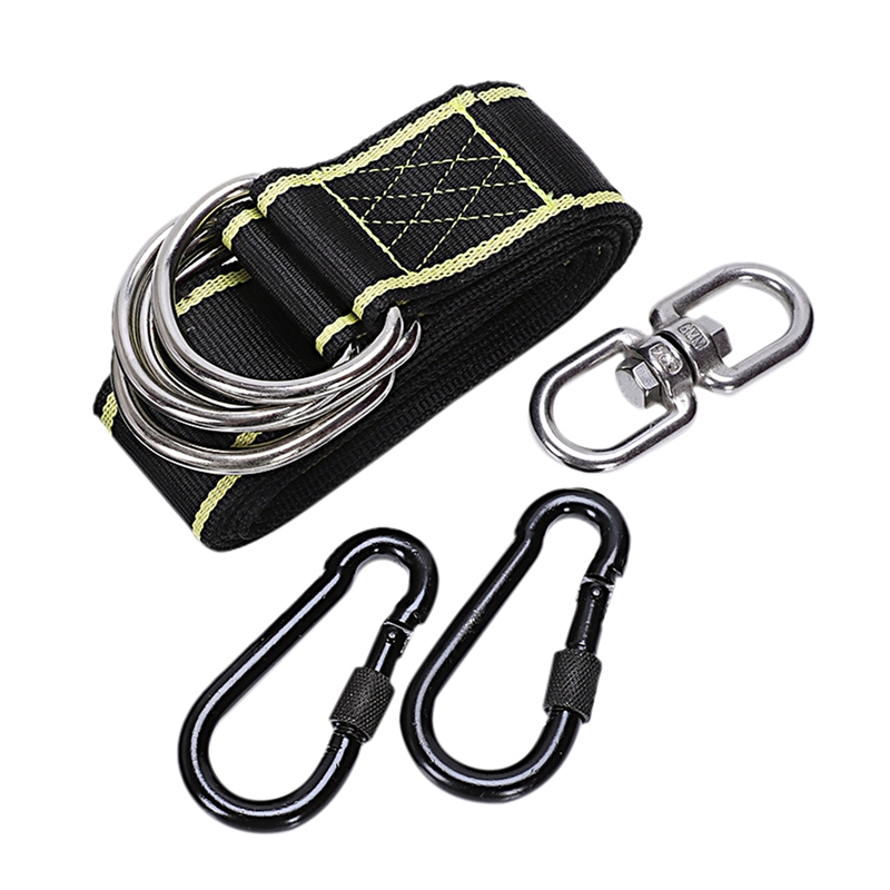 Outdoor Adjustable High-Strength Swing Belt Hanging Kit Holds For Camping Hammock Attachment Seat Hinged Seat With 2 Carabiner thumbnail