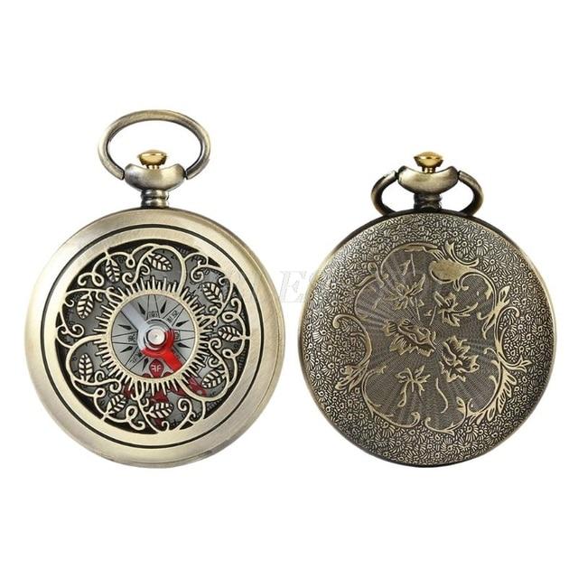 Vintage Bronze Compass Pocket Watch Design Outdoor Hiking Navigation Kid Gift Retro Metal Portable Compass Drop Shipping 2