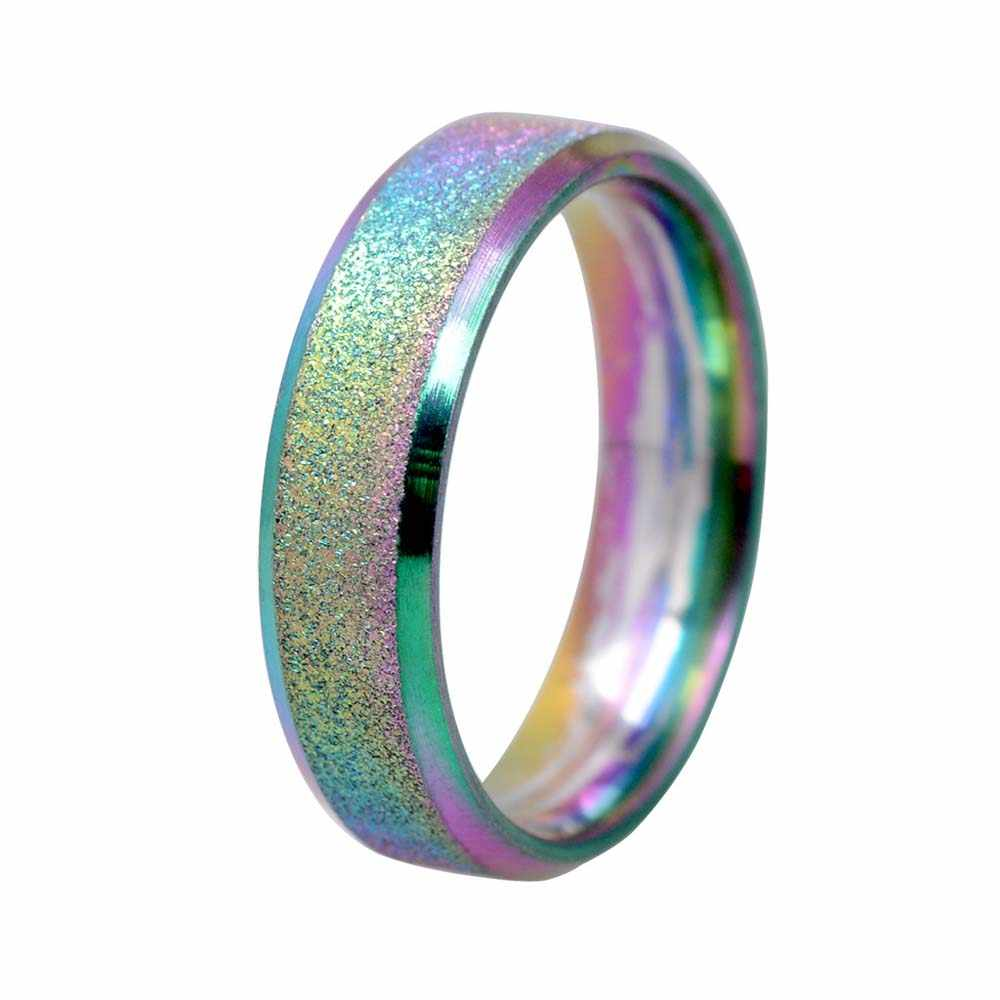 Fashion Scrub Rainbow Color Sandblasting Ring Men Simple Stainless Steel Ring Women Wedding Rings