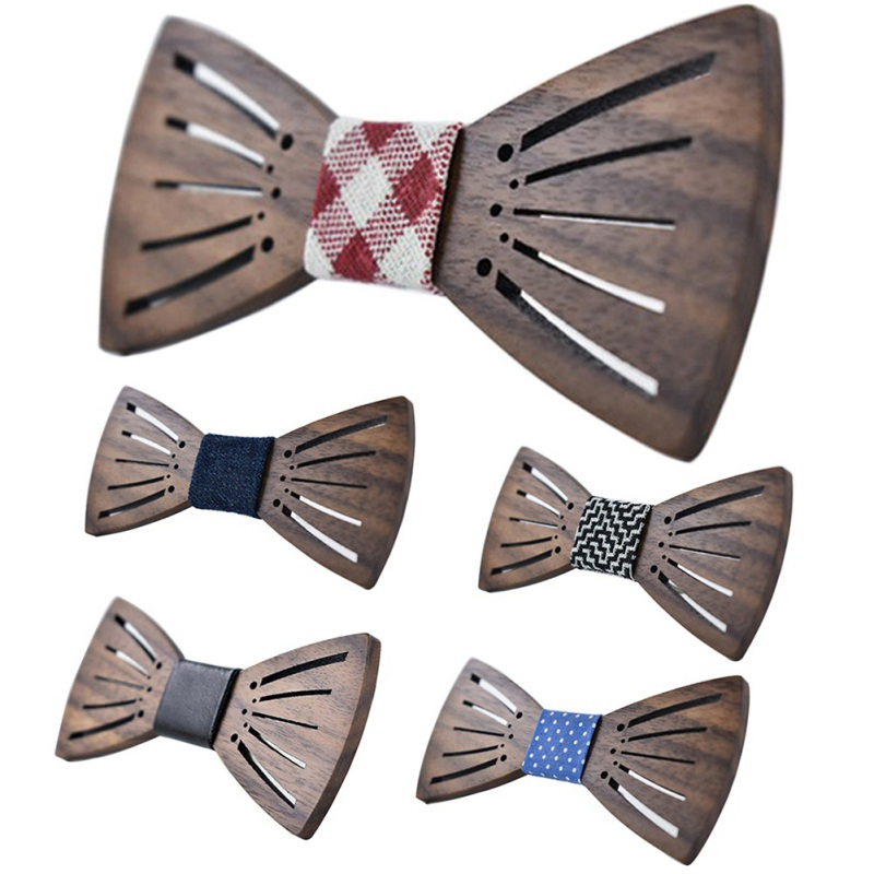 2019Wedding Adult Bow Tie Carving Angel Wings Wooden Bow Tie Accessories Wood Butterfly Tie For Wedding Party Decoration Carving