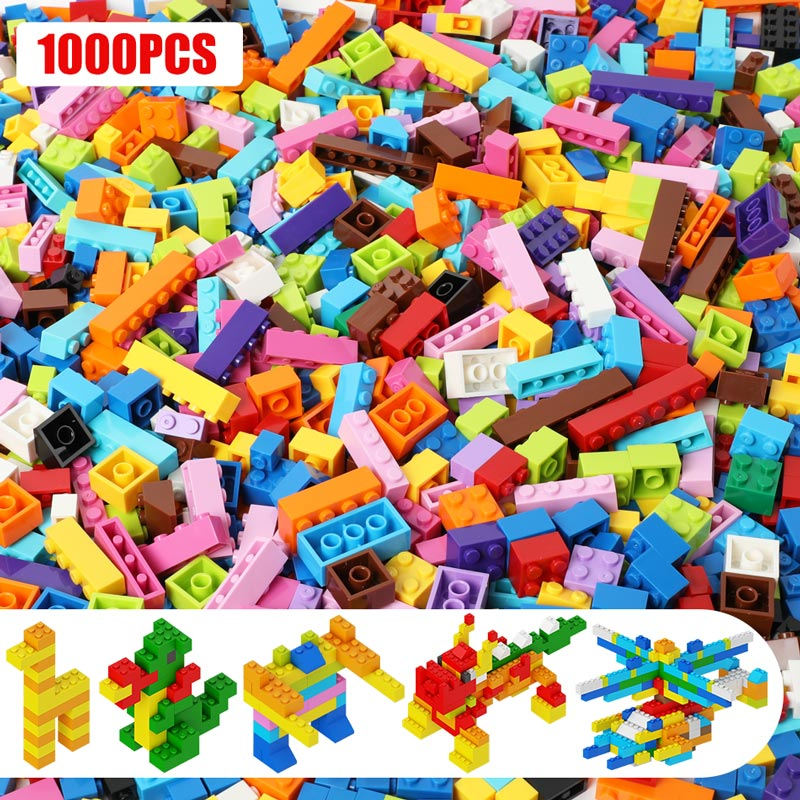 <font><b>1000PCS</b></font> Building Blocks for Classic City Creator Colorful Bricks DIY Kids Educational Toys for Children Compatible Brand image