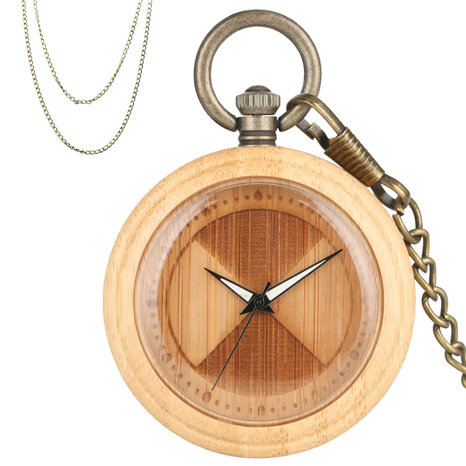Engraved Sector Design Bamboo Wood Quartz Pocket Watch Creative Wooden Case Pendant Clock Bronze Fob Chains New Arrival 2019