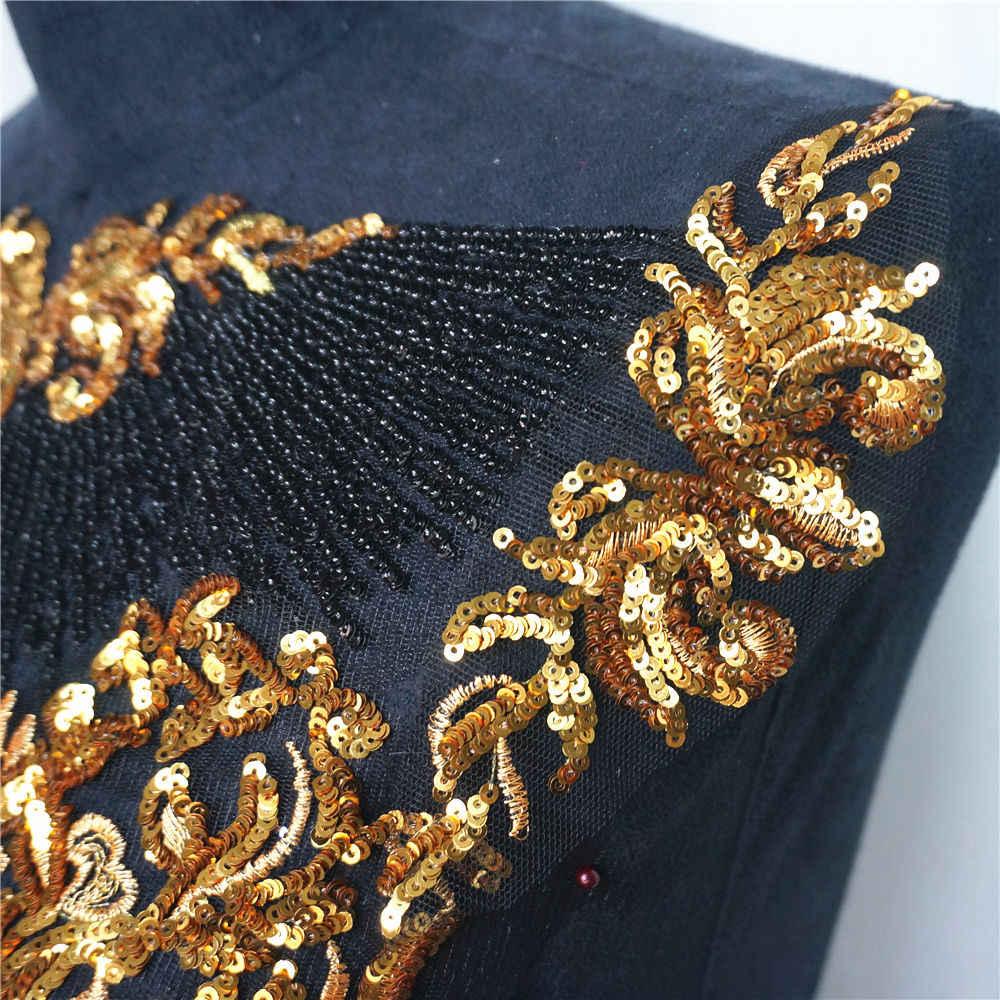 1 Bộ Đen Voan Vàng Đầm Thêu Phối Ren Tua Rua Hoàng Gia Quý Tộc Áo Cưới Táo Miếng Dán Phối DIY
