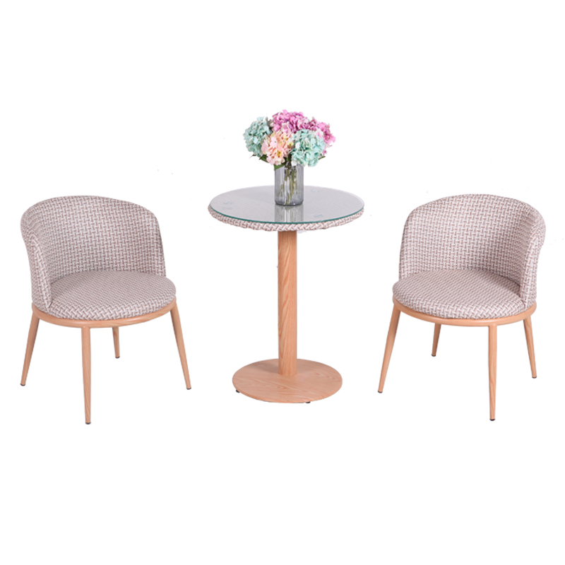 Small Round Table And Chair Combination Three-piece Coffee Table Simple Casual Reception Table Coffee Table Glass Tea Shop