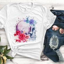 flower skull floral Print Women tshirt Cotton Casual Funny t