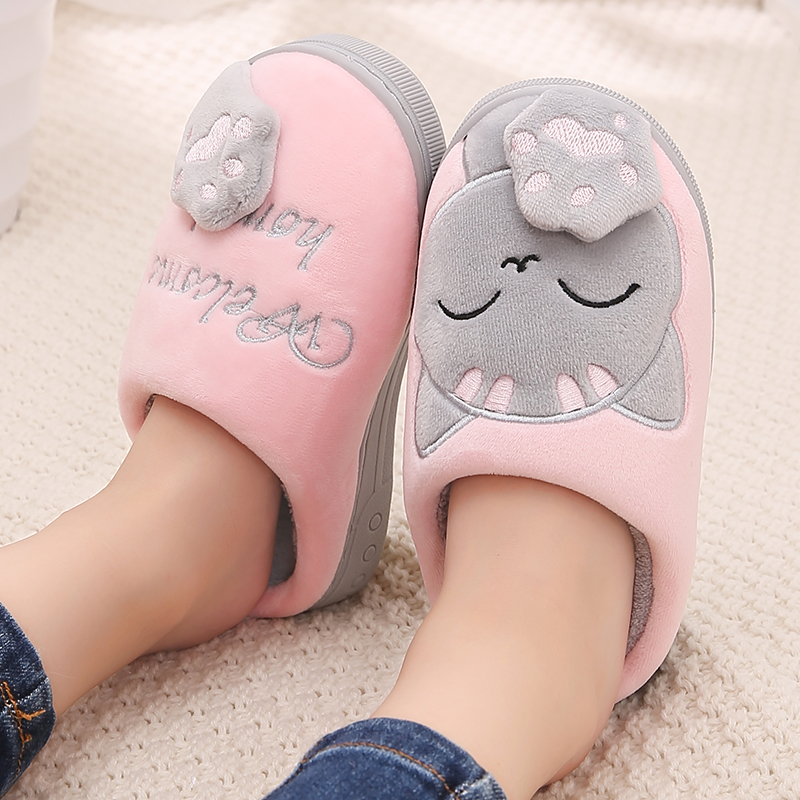 Winter Slippers Kids Boy Girl Children Warm Cute Indoor Non-slip Cartoon Candy Color Cat Home Slippers Zapatillas Bebe 2019