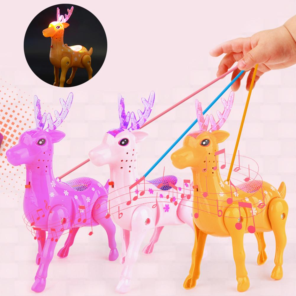 Electric Walking Sika Deer Animal Toy With LED Music Leash Interactive Kids Educational Toys For Children Gift
