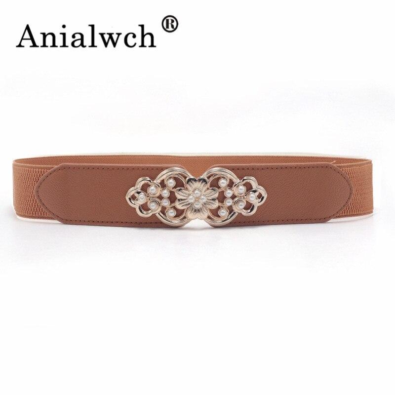 66*4cm Pearl Buckle Elastic Width Women Girdle For Dress Female Belts For Women Belt With Spring Skirt 5 Colour Cummerbund J242
