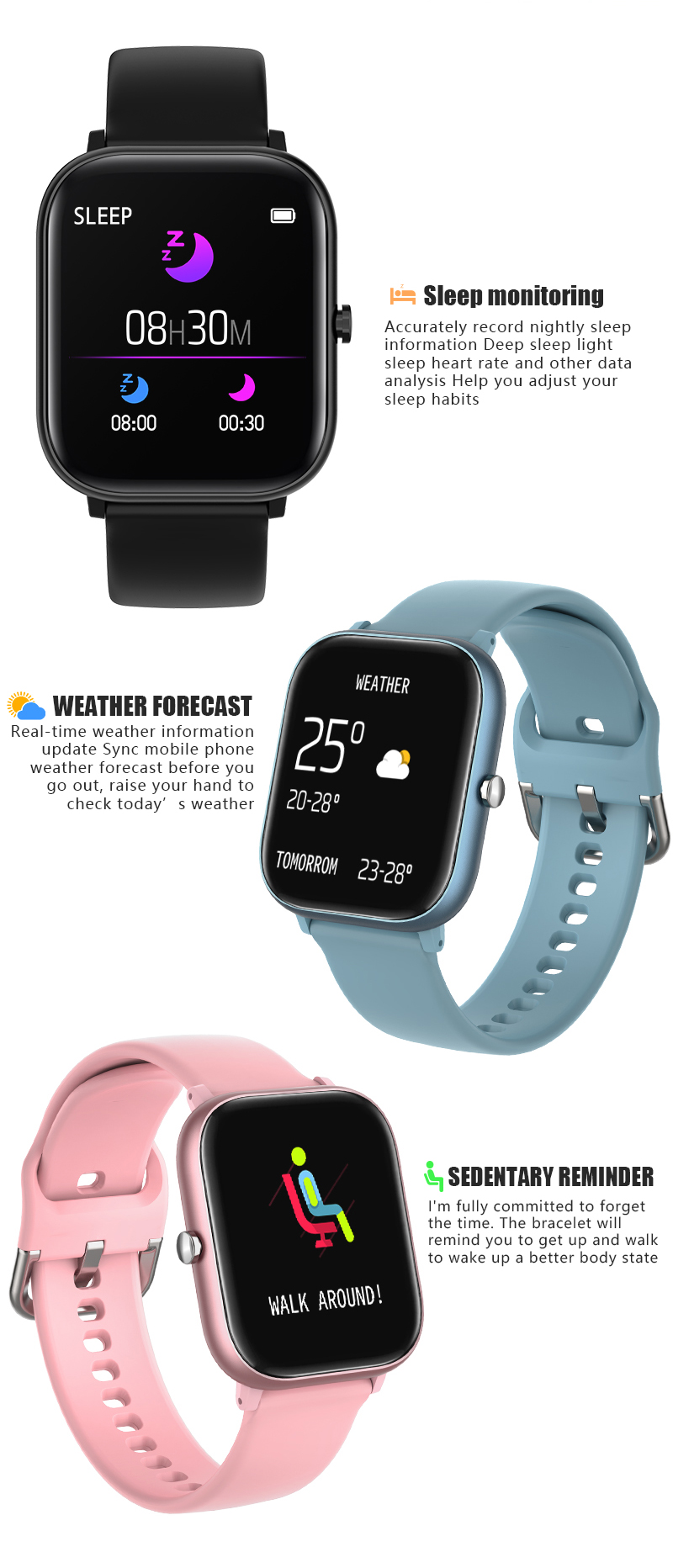 Hde80f7dd01d84ca8b0c6e1f8608d0e25W CYUC P20 1.4HD  smartatches  For IOS & Android