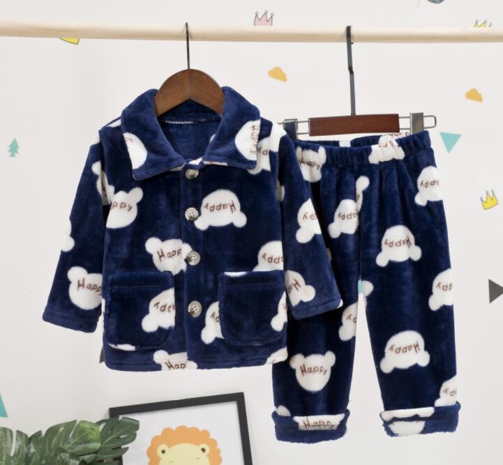 Winter Flannel Kids Pajamas Sets Child Warm Sleepwear Cartoon Print Baby Girls Boys Nightwear Children Pajamas Coral Velvet Sets