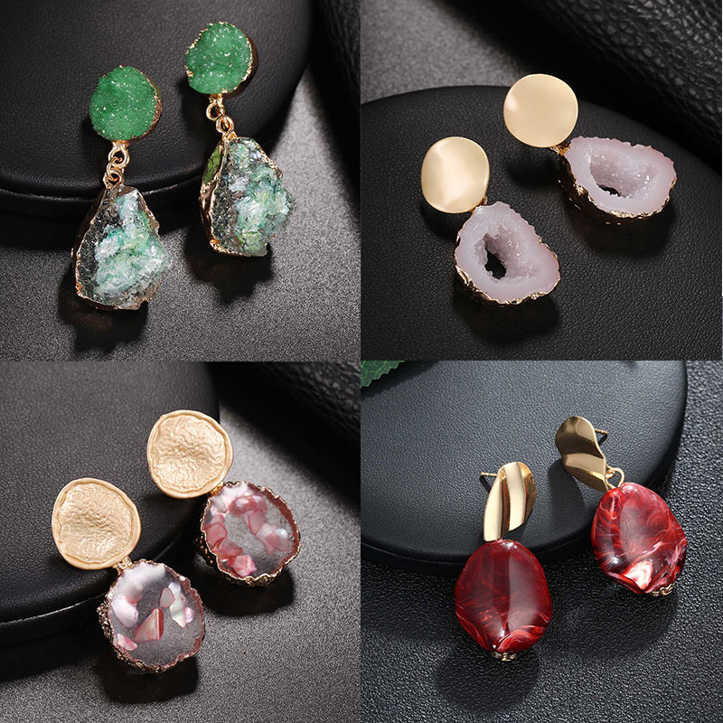 2019 New Natural Dangle Drop Earrings Resin Stone Vintage Hanging Earrings for Women Elegant Geometric Earrings Brincos Bijoux