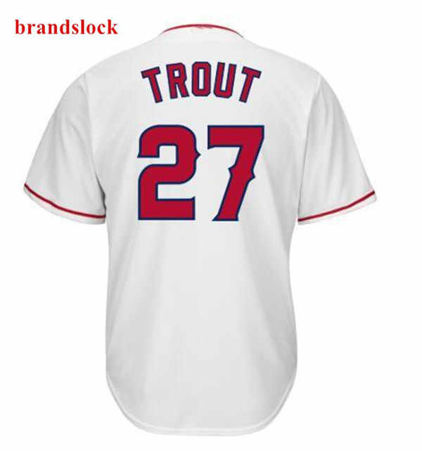 2019 new Los Angeles 27 Trout Jersey Mens's Baseball Jerseys  Red White