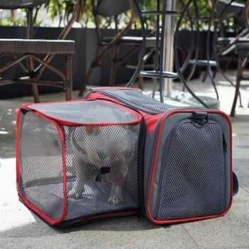 I PAW M4Pet transportador de perro extensible, bolsa de coche de lado suave portátil transpirable, bolsa de viaje para mascotas, perrera multifunción para perro y gato