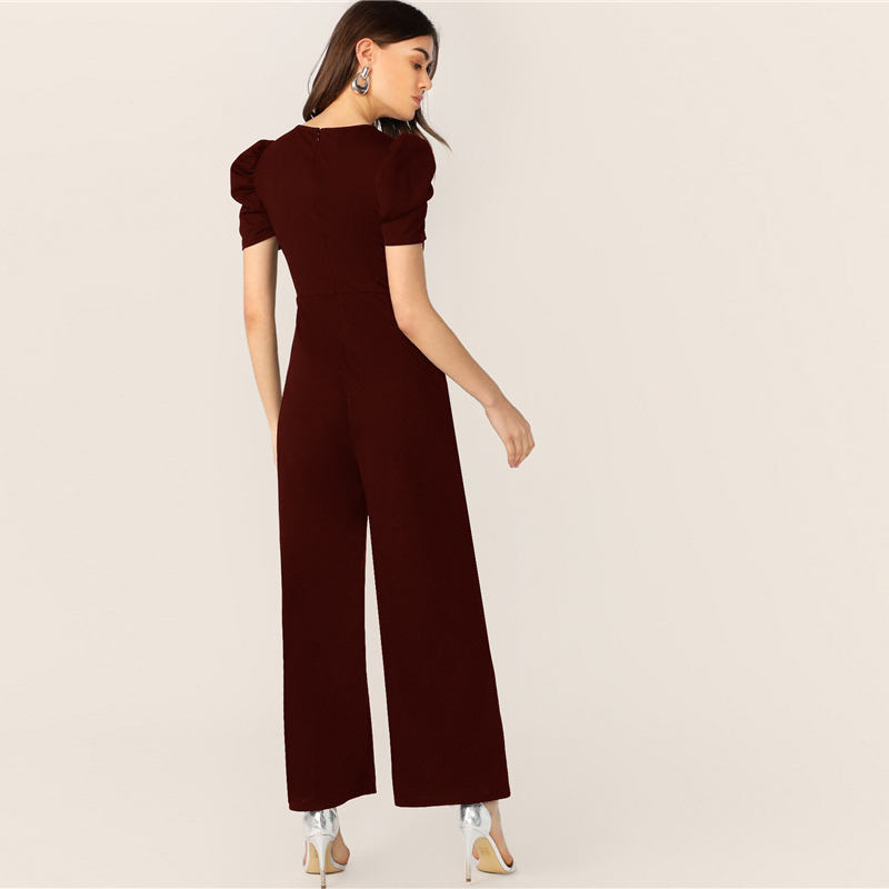 SHEIN Button Embellished Puff Sleeve Wide Leg Jumpsuit Elegant Spring Autumn Women Short Sleeve High Waist Jumpsuit 13