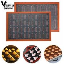 Resistente al calor horno de revestimiento antiadherente estera para hornear galletas/PAN/bizcochos y galletas/Puff/Eclair perforado tapete de silicona para pasta herramienta