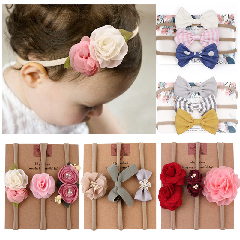 Flower Baby Headband For Girl Bows Crown Head Bands Turban Newborn Headbands Hairbands For Kids Haarband Baby Hair Accessories(China)