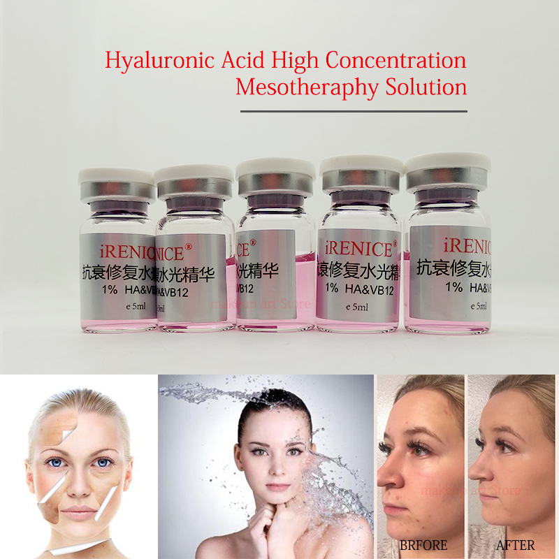 5ml Hyaluronic Acid Pure Micro Molecular Water With Mesotherapy Gun Hyaluron Acid Serum Add HA&B12 Skin Rejuvenation Anti-aging