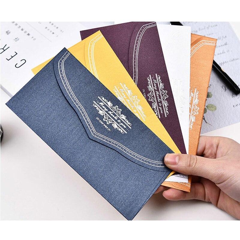 5pcs/pack Elegant Gilding Style Envelopes Letter Greeting Card Envelope Five Colors 166mm*83mm